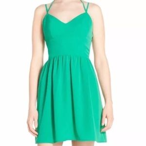 A by Amanda halter fit and flare mini dress